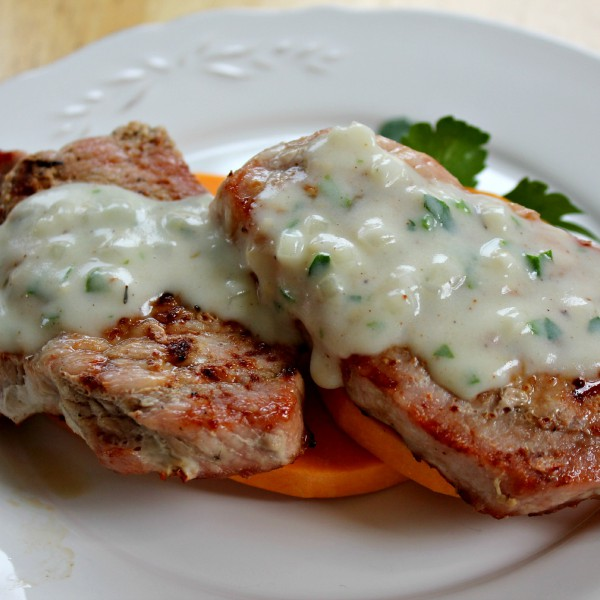 Pork Chops with Parmesan Thyme Sauce