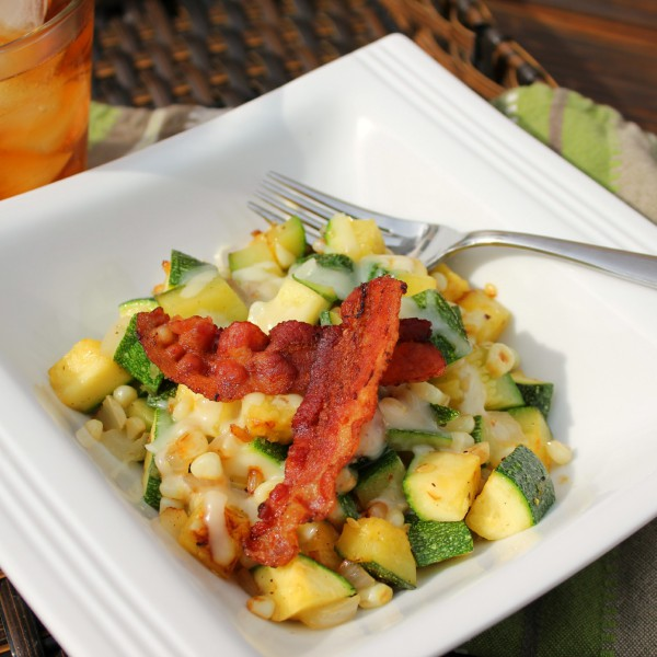 Zucchini, Corn and Bacon Skillet Saute'